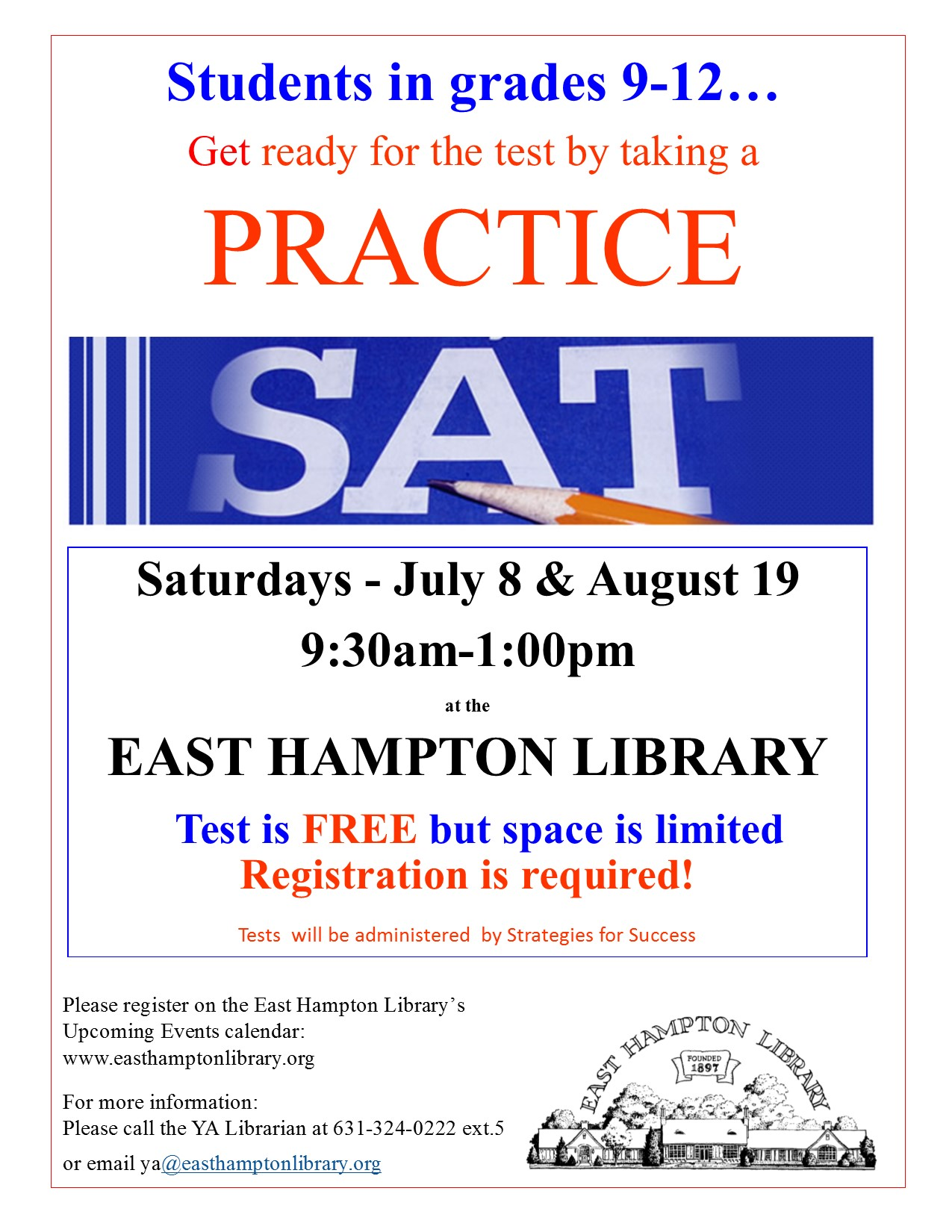 Summer 2017 SAT practice test flyer pub - East Hampton Library