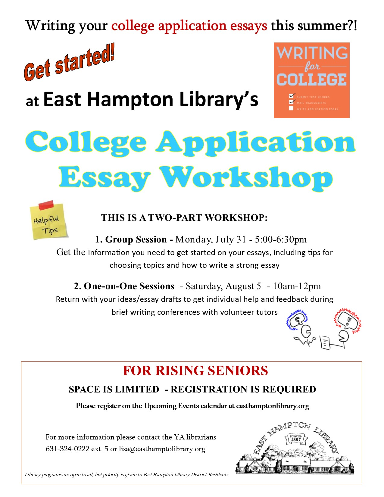 Student College Essay Flyer   East Hampton Library Student College Essay Flyer  Photosynthesis Essay also My School Essay In English  Research Report Wrting Companies